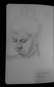 Nice little pencil drawing of Kajsa suntanning